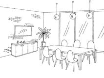 办公室会议室图表黑白色内部剪影例证 免版税库存图片