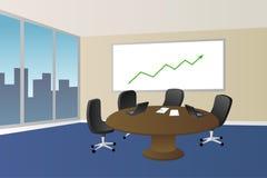 办公室会议室米黄蓝色桌椅子窗口例证 库存照片