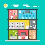 办公室内部平的设计  免版税库存照片