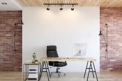 办公室内部的墙壁嘲笑 墙壁艺术 3D翻译, 3D例证 皇族释放例证