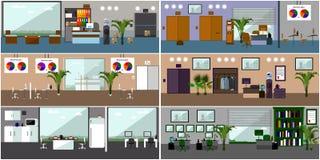 办公室内部 在平的样式设计的传染媒介例证 有家具的现代房间 库存照片