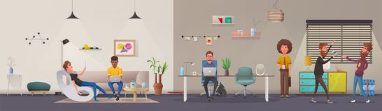 办公室内部 现代公寓斯堪的纳维亚人或顶楼设计 外籍动画片猫逃脱例证屋顶向量 皇族释放例证