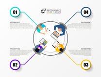 办公室台式视图业务会议 infographic概念 图库摄影