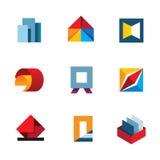 办公室启发创新五颜六色的企业生产力工具商标象集合 免版税图库摄影
