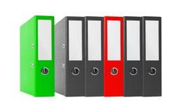 黑办公室在白色隔绝的文件夹和红色 免版税库存图片