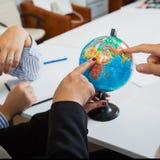 办公室地球特写镜头,查寻国家旅行 免版税库存图片