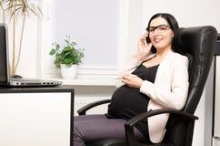 办公室孕妇 免版税库存照片
