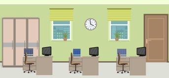 办公室室内部包括与家具的三个工作区 库存照片