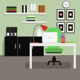 办公室室内部平的传染媒介例证 库存图片