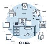 办公室工作区椅子计算机时钟打印机安全文件 免版税图库摄影