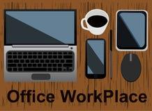办公室工作场所概念,传染媒介例证 免版税库存照片