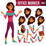 办公室工作者传染媒介 阿拉伯人,沙特妇女 企业生意人幸福人员纵向 面孔情感,姿态 动画创作集合 平的动画片 向量例证