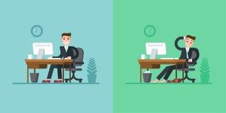 办公室工作者每日惯例 坐在书桌和研究计算机的衣服的商人 疲倦在结束时 库存图片