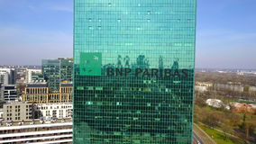 办公室摩天大楼空中射击有法国巴黎银行商标的 编译的现代办公室 社论3D翻译 免版税库存照片