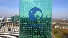 办公室摩天大楼空中射击有达诺商标的 编译的现代办公室 社论3D翻译 免版税库存照片