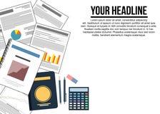 办公室文具和文件公司横幅 图库摄影