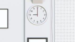办公室时钟在一个工作日的开头部分 3d翻译 库存图片