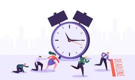 办公室最后期限和企业字符竞争 在路的时间管理向成功小组跑的商人 皇族释放例证