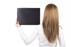 办公室样式的女孩片剂 免版税库存照片