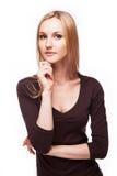 办公室样式的白肤金发的妇女 库存照片