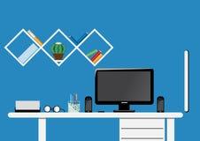 办公室桌面工作区 平的传染媒介嘲笑 免版税库存照片