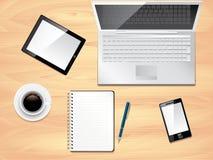 办公室桌面视图,现实的照片  库存图片
