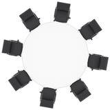 办公室椅子和圆桌 向量例证