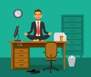 办公室瑜伽传染媒介例证 向量例证