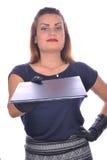 给办公室的典雅的女实业家画象  库存图片