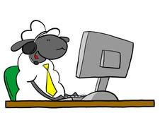 办公室绵羊谈话在耳机 免版税库存图片