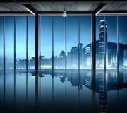 办公室都市风景大厦当代内部室现代Co 免版税库存照片