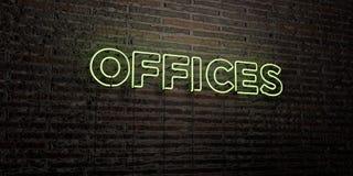 办公室-在砖墙背景的现实霓虹灯广告- 3D回报了皇族自由储蓄图象 向量例证