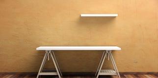 办公桌和自已在一个木地板上-粉刷被绘的墙壁 3d例证 免版税图库摄影