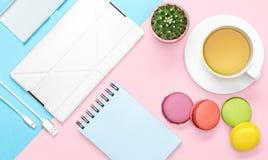 办公桌平的位置照片有盒的电话和片剂、笔记本、茶杯子、蛋白杏仁饼干,仙人掌,桃红色和蓝色背景的 免版税库存照片