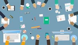 办公桌的配合 在工作的互作用手 向量例证