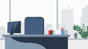 办公桌背景传染媒介 工作场所企业样式 表和计算机 平的样式例证 免版税图库摄影
