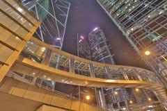办公楼在中央香港在晚上 免版税库存照片