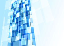 办公楼现代蓝色玻璃墙 皇族释放例证