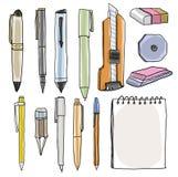 办公用品铅笔写作切削刀橡皮擦例证 库存照片
