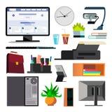 办公设备集合传染媒介 键盘,电子数字式项目 图标 企业工作流程 纸和桌面对象 库存例证