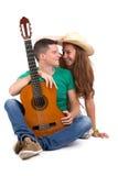 年轻加上吉他 图库摄影