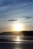 加上风景剪影走在五颜六色的日出夏天天空的沙滩的狗与反射 库存照片