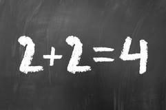 2加上2均等4 免版税库存照片