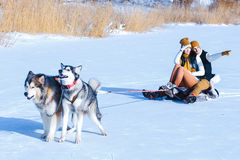年轻加上画象微笑和拥抱在冬天的狗 库存图片
