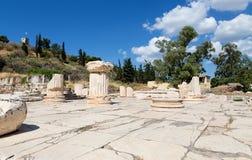 更加伟大的Propylaia,古老埃莱夫西纳, Attica,希腊 库存照片