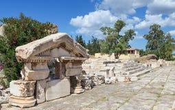 更加伟大的Propylaiain山墙饰,古老埃莱夫西纳, Attica,希腊 库存照片