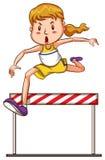 加入三项全能竞争的女孩的一个简单的剪影 库存图片