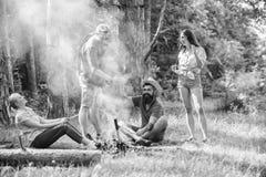 加入夏天野餐 获得的公司乐趣,当烤在棍子时的香肠 巨大野餐的汇聚 朋友见面 免版税库存图片