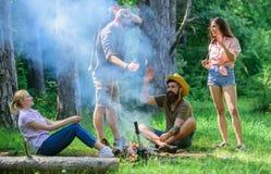 加入夏天野餐 获得的公司乐趣,当烤在棍子时的香肠 见面在篝火附近的朋友停留和 免版税库存图片