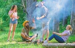 加入夏天野餐 获得的公司乐趣,当烤在棍子时的香肠 见面在篝火附近的朋友停留和 库存图片